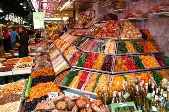 Fruit Stall in Indoor Market off Las Ramblas