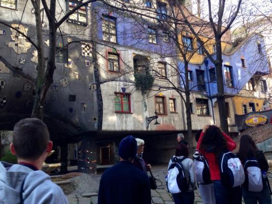 Hundertwasserhaus architecture. Vienna. March 2014.